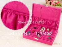 Large capacity leather jewelry box princess jewelry box litchi jewelry box jewelry box FREE SHIPPING