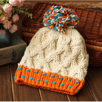 2013 classic plaid knitted hat women's color block thermal knitted hat autumn and winter hat
