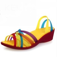 2013 keki colorful wedges shoes hole color block decoration sandals casual sandals