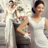 Deep V-neck double-shoulder slit neckline bride lace fish tail train wedding dress slim wedding dress 2014 Hot sell