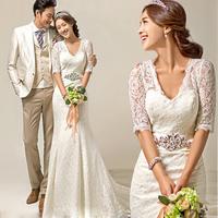 V-neck slit neckline half sleeve fish tail train bride wedding dress formal dress lace wedding dress 2014 Free shipping