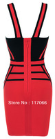2014 new arrival red-black Tank  v-neck patchwork sexy Bandage dresses fashion hollow out short evening dress or party dress