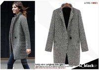 2013 New Fall/Winter Coat Women Fashion Black White Notch Stand Collar Long Sleeve Oversize Coat