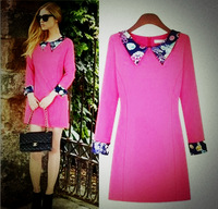 Fashion autumn 2013 peter pan collar long-sleeve Women  one-piece dress free shipping 5155