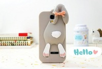 Wholesale 10pcs/lot New Arrival 3D Bunny Silicon Rabbit Case For Samsung galaxy S IV S4 i9500 with retail packageFree Shipping