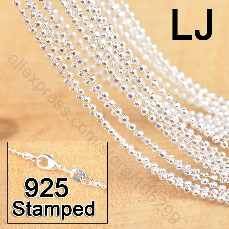 "New Free Shipping 20Pcs 18"" 925 Sterling Silver Jewelry Section Ball Bead Prayer Chains With Lobster Clasps For Pendant(China (Mainland))"