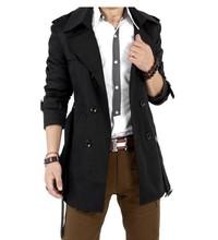 MENS CASUAL DOUBLE BREASTED TRENCH COAT SLIM FIT M-XXXL (BLACK,KHAKI) winter fashion jacket,popular jacket(China (Mainland))
