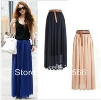 Free Shipping 2013 Women Amazing Sexy Chiffon Long Skirt 2013 New Fashion Hot Sales Bohemian Princess pleated Skirt