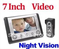 Free  shipping, 7 Inch Video Door Phone Doorbell Intercom Kit 1-camera 1-monitor Night Vision