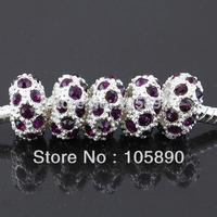 On sale !  Deep Purple Crystal European Spacer Loose Charm Beads Fit Bracelet   PB305-10