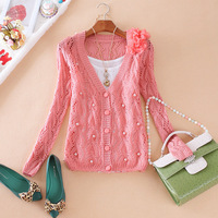 Fashion women's 2013 delicate cutout flower beads cutout cardigan sweater outerwear
