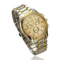 Hot-selling Wholesale Mens gold fashionable casual 68 movement quartz  male  Cheap Man Wrist Watch