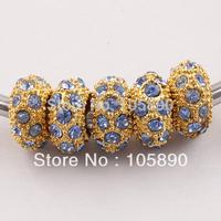 On sale ! Light Blue   Crystal Gold Spacer Loose Charm Beads Fit Bracelet   PB318-10