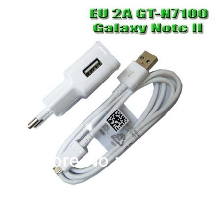 Original 2A EU Plug Micro USB Adapter Home Charger For SAMSUNG Galaxy Note II 2 GT-N7100 N7100 N719 Cargador Chargeur Carregado(China (Mainland))