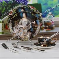 Free shipping, Royal figure oil painting ceramic western dish gift fashion tableware bone china dinnerware set