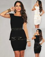 Drop shipping!New 2014 Dress 1pc Sexy Lady's OL Dress White Black Suit Sleeveless Frill Peplum Tops Bodycon Pencil New