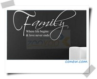 Ebay family english quote wall stickers 8015