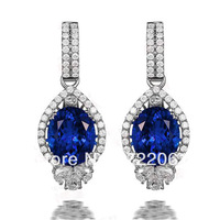 Free mail 925 silver inlaid 8 x10mm elliptical Tanzania sapphire earrings Micro hollow earrings