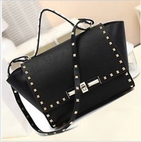 New fashion European stylish High quality pu leather women's handbag rivet bag punk bags swing bag one shoulder bag