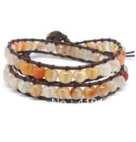 2014 new fashion 100% real leather made leather 2 wrap bracelet wholesale agate bead bracelet free shipping