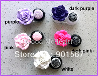 [10 pcs / lot] Fashion Big Rose Flower Design Contact Lens Case with Soaking Case Holder Box 5 Colors