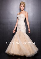 2014 Beautiful  Prom Dresses - Ivory & Gold Strapless Mermaid Gown