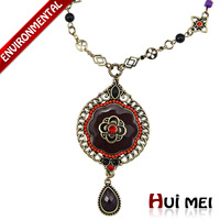 Free Shipping Christmas Fashion Women Ethnic Colorful Enameling Charms Beads Crystal Pendant Statement Chain Necklaces Jewelry