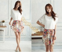 Women's Charming Summer Crewneck Chiffon Short Sleeve Floral Casual Dress 14510 Z