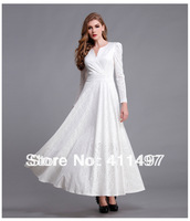 New Hot European&US Novelty Fabulous Olive Jacquard Lace floor length bandage slim waist winter dress in classic white/black 2xl