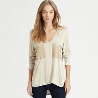 Fashion normic loose zipper applique large pocket long-sleeve medium-long v-neck T-shirt basic shirt plus size female T029