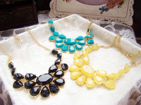 Min. order is $9 (can mix style) Fashion luxury multicolour acrylic gem drop geometry style ladies necklace XL493