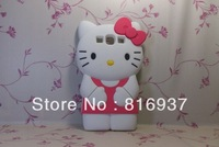 Newest 3D Hello Kitty  Silicone Back Cover Case for iPhone 4 4S  Free  shipping