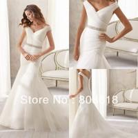 Fashionable Elegant 2014 Mermaid Wedding Dress V Neck Backless Chapel Train Cap Sleeve Crystal Sash Zipper Bodice Bridal Gown!