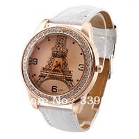 Wholesale Eiffel Tower Quartz Fashion Ladies woman Leather rhinestone Wrist Watch 100pcs/lot DHL free shipping