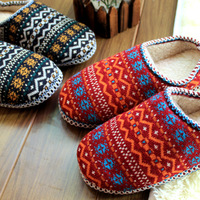 New arrival national trend home slippers interior floor soft outsole lovers yarn knitted wool slippers at home