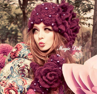 Magic large dolls winter female flower ladies gentlewomen purple pearl knitted hat handmade customrised free shipping