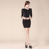 2013 summer OL outfit elegant V-neck slim all-match lace patchwork one-piece dress plus size available