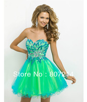 2014 Charming  Prom Dresses - Turquoise & Lime Strapless Short Prom Dress