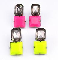 4pairs/lot -European Fashion Gun Black Alloy Charming Fluorescence Resin Square Grey Crystal Ear Stud Earrings