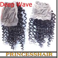 6A Top Quality 100% Brazilian Virgin Hair Deep Wave Lace Closure Wig