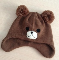 EuropeStyle   kids brown   embroidery   knitted  caps