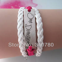 one direction bracelets,antique silver medal,one direction,white and red leather handmade charm bracelet free shipping FBY0011