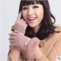 Winter Warm Fur Rabbit Gloves For Women Female Noble Wool Touch Gloves