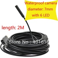 Free shipping 2m usb cable 7mm Lens Borescope,USB Tube Snake Scope Inspection Camera with 6 LED ,Waterproof Endoscope USB-001