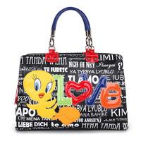 Braccialini 's same designer Italy LOVE cartoon women's handbag fashion color block canvas bag handbags big bags NOT braccialini