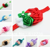 10pcs/lot Christmas Items Shabby Chic Flowers Fashion FOE Elastic Headband,Baby Hair Accessoies Free Shipping R983