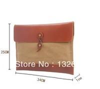 Canvas +  Leather Bag Shoulder Bag School Bag Retro Envelope Clutch Bag Influx of men Messenger bag Free Shiping