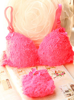 Neon powder circle wool underwear 3 breasted bra set push up sexy underwear set shaggier