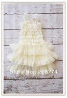 Hot Sell! Ivory chiffon baby dress ruffled baby girl lace and  chiffon petti dress ivory new lace girl princess dress 24pcs/lot