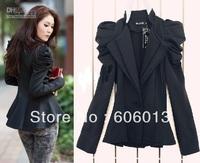 2014 new women Ladies  Suit Blazer One Button Shrug Shoulder Jacket Coat double Collars gift